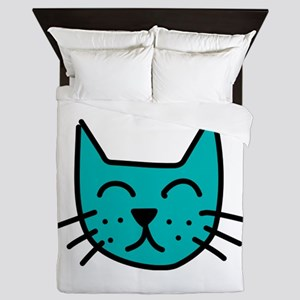 Aqua Cat Face Queen Duvet