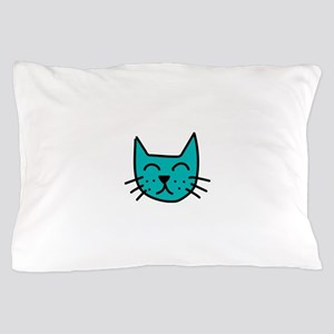 Aqua Cat Face Pillow Case