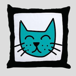 Aqua Cat Face Throw Pillow