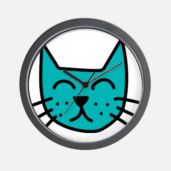 Aqua Cat Face Wall Clock