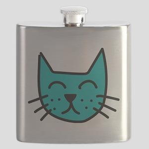 Aqua Cat Face Flask