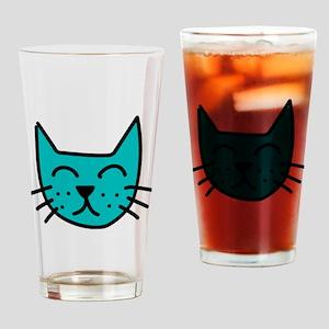 Aqua Cat Face Drinking Glass