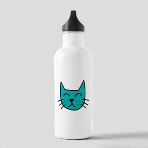 Aqua Cat Face Water Bottle