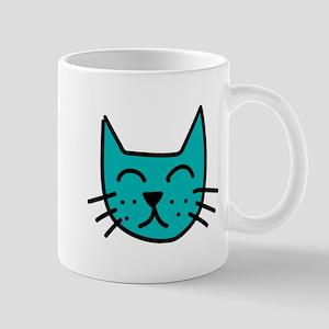Aqua Cat Face Mug