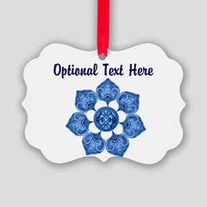 Customizable Blue Fabric Flower Ornament