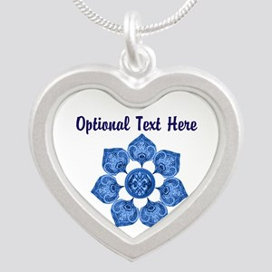 Customizable Blue Fabric Flower Necklaces