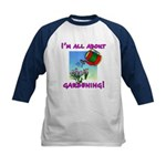 I'm All About Gardening Kids Baseball Jersey