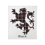 Lion - Black Throw Blanket