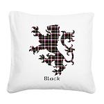 Lion - Black Square Canvas Pillow