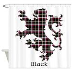 Lion - Black Shower Curtain