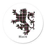 Lion - Black Round Car Magnet