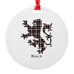 Lion - Black Round Ornament