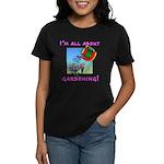 Gift for Gardener Ladies Black T-shirt