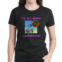 Gift for Gardener Ladies Black T-shirt