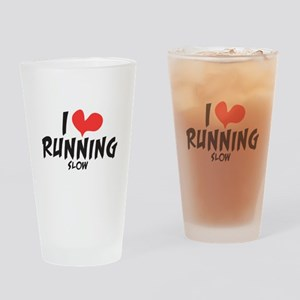 Funny I heart running slow Drinking Glass