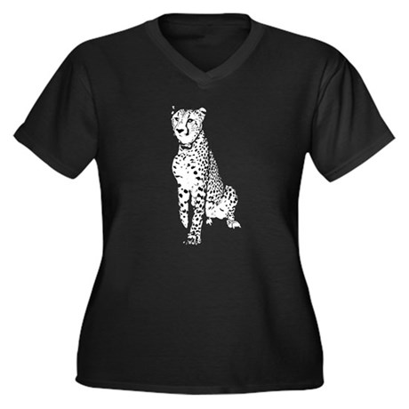 Cheetah Women's Plus Size V-Neck Dark T-Shirt
