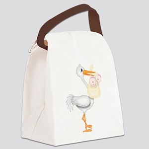 STORK WITH TWIN GIRLS Canvas Lunch Bag