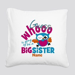 Personalized Big Sister - Owl Square Canvas Pillow