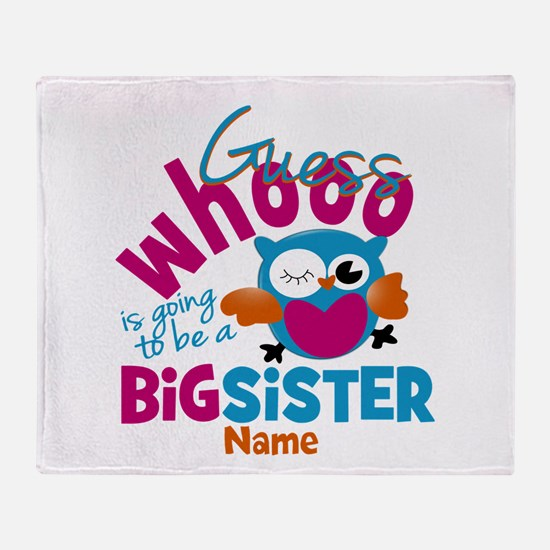 Personalized Big Sister - Owl Throw Blanket