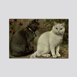 Black and White Short-Haired Cats Rectangle Magnet