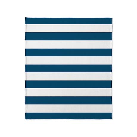 Nautical Blue Bold Stripes Throw Blanket