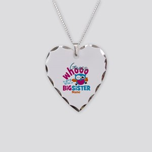Personalized Big Sister - Owl Necklace Heart Charm