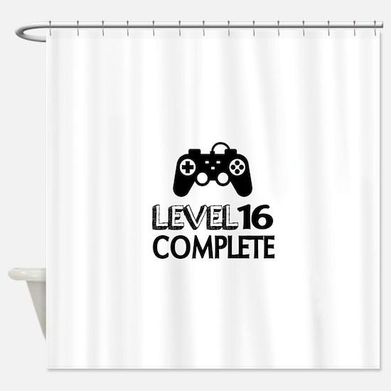 Level 16 Complete Birthday Designs Shower Curtain