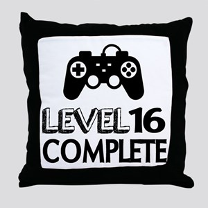 Level 16 Complete Birthday Designs Throw Pillow