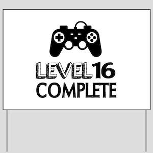 Level 16 Complete Birthday Designs Yard Sign