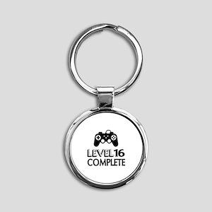 Level 16 Complete Birthday Designs Round Keychain