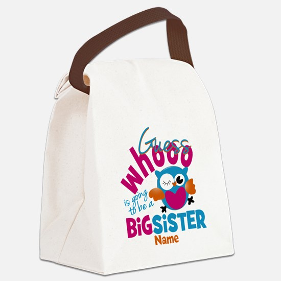 Personalized Big Sister - Owl Canvas Lunch Bag
