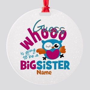 Personalized Big Sister - Owl Round Ornament