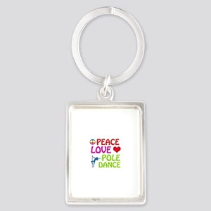 Peace Love Poledance Portrait Keychain