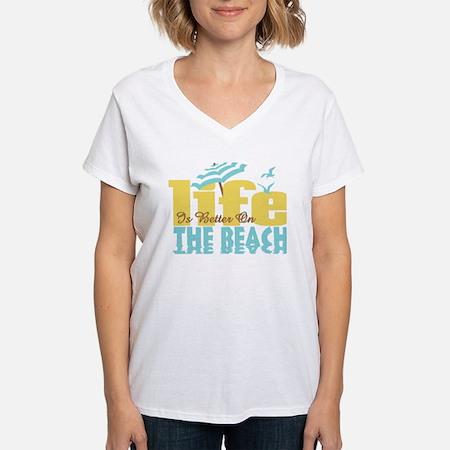Life's Better Beach Women's V-Neck T-Shirt