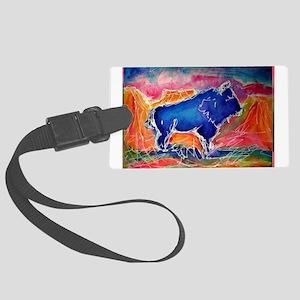 Buffalo, colorful, art! Luggage Tag
