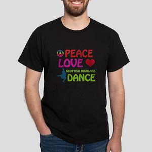 Peace Love Scottish Highland Dark T-Shirt