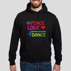 Peace Love Scottish Highland Hoodie (dark)