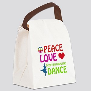 Peace Love Scottish Highland Canvas Lunch Bag