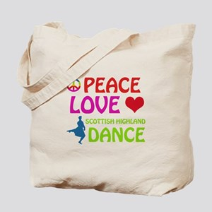 Peace Love Scottish Highland Tote Bag