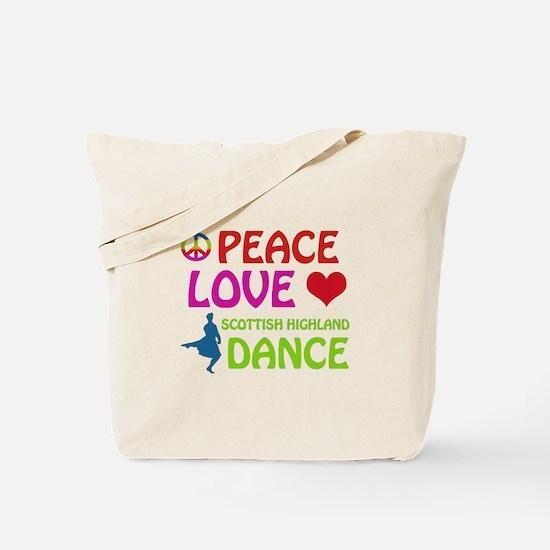 Peace Love Scottish Highland Tote Bag