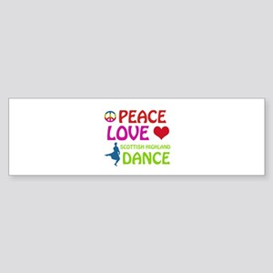 Peace Love Scottish Highland Sticker (Bumper)