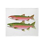 Pacific Coho Salmon fish couple Throw Blanket