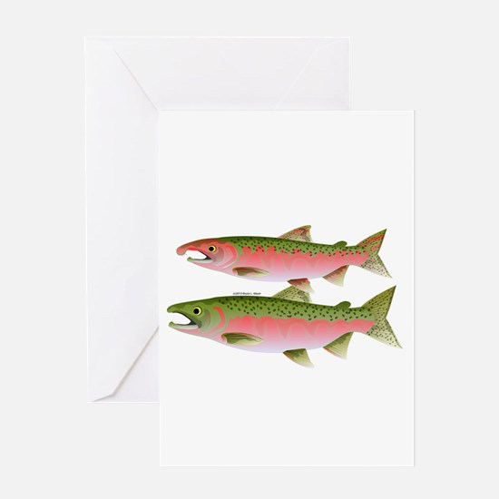 Pacific Coho Salmon fish couple Greeting Card