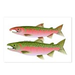 Pacific Coho Salmon fish couple Postcards (Package