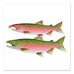 Pacific Coho Salmon fish couple Square Car Magnet
