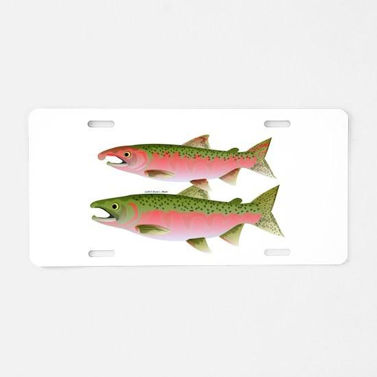 Pacific Coho Salmon fish couple Aluminum License P