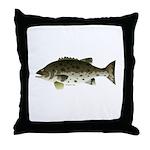 Giant Black Sea Bass fish Throw Pillow