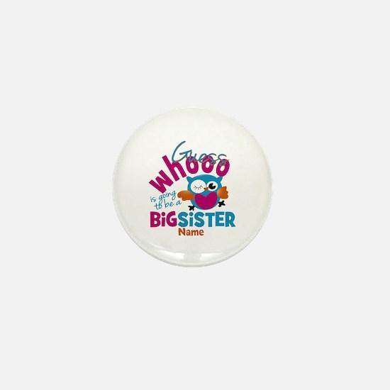 Personalized Big Sister - Owl Mini Button