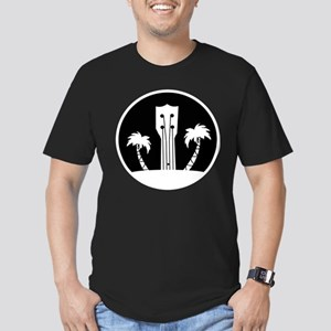 Ukelele and Palm Trees in Black and White T-Shirt