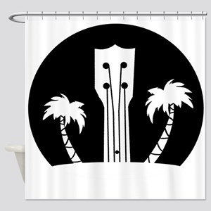 Ukelele and Palm Trees in Black and Shower Curtain